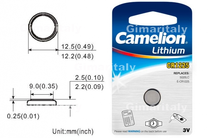 Batteria a bottone CR1225 DL1225 3V Litio Camelion