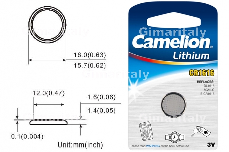 Batteria a bottone CR1616 DL1616 3V Litio Camelion