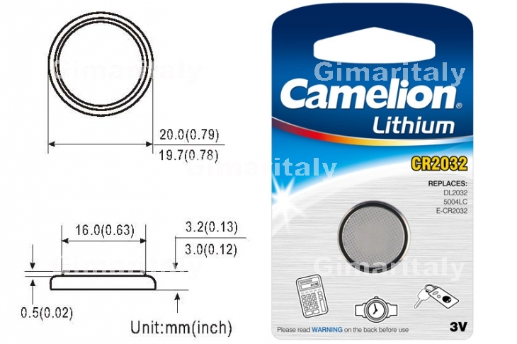Batteria a bottone CR2032 DL2032 3V Litio Camelion