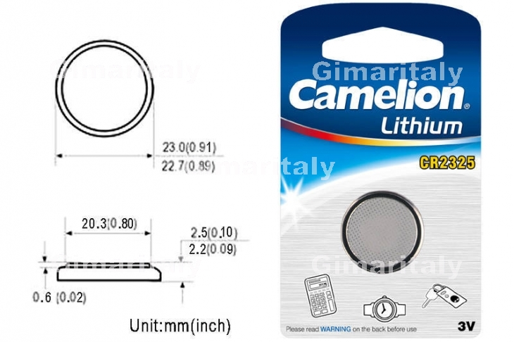 Batteria a bottone CR2325 DL2325 3V Litio Camelion