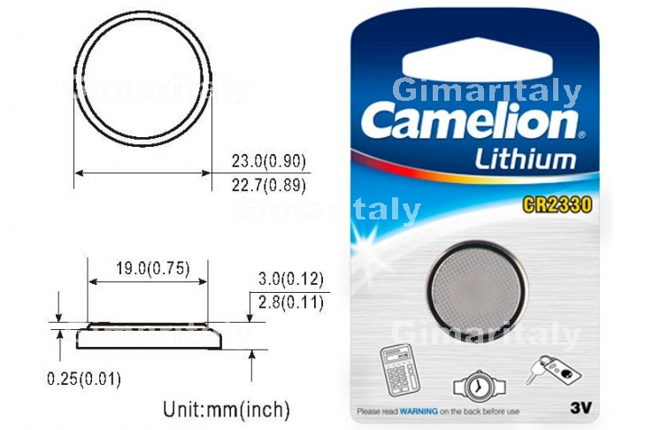 Batteria a bottone CR2330 DL2330 3V Litio Camelion