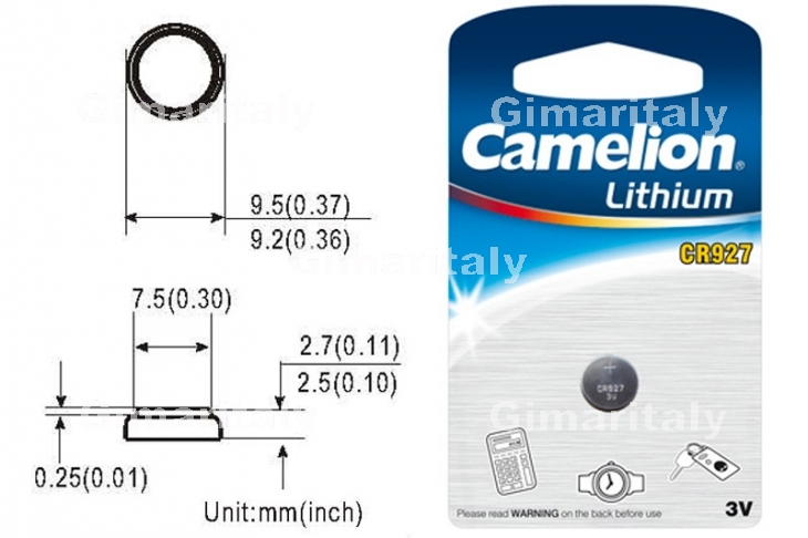 Batteria a bottone CR927 3V Litio Camelion
