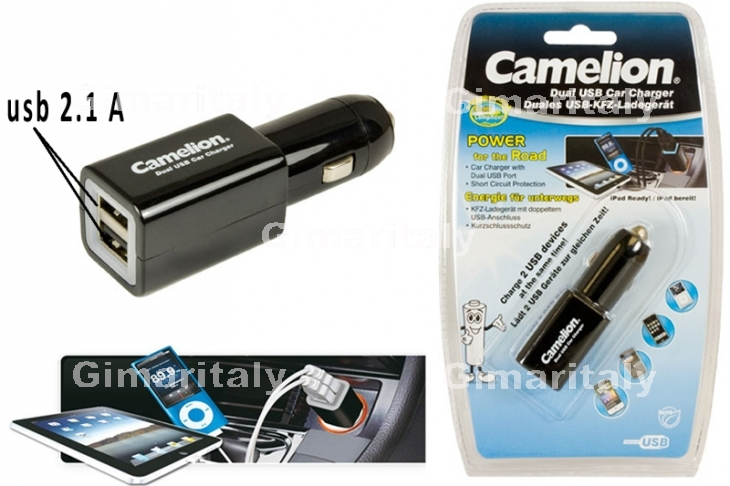 Caricabatterie 2 USB 2.1A auto 12/24V Camelion DD801