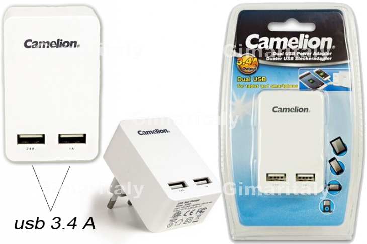 Caricabatterie 2 USB 3.4A 220V Camelion AD569