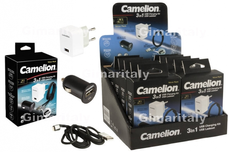 Caricabatterie Kit 3 in 1 Auto-Rete-Cavo USB Camelion