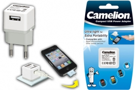 Caricabatterie USB 1A 220V Camelion AD3127