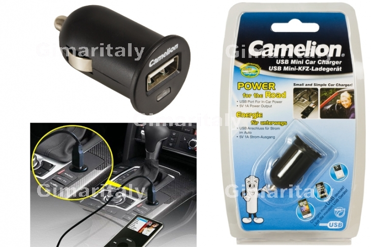 Caricabatterie USB 1A auto 12/24V Camelion DD802