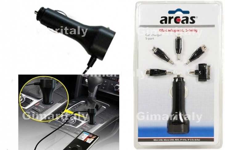 Caricabatterie Universale USB 1A auto 12V 5 in 1 Arcas