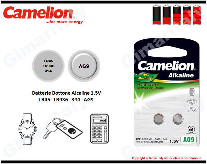 Batterie bottone LR45-LR936-394-AG9 Alcaline Camelion