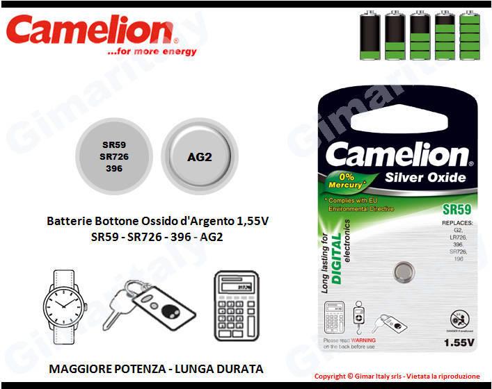 Batterie bottone SR59-SR726-396-AG2 Ossido d'Argento Camelion