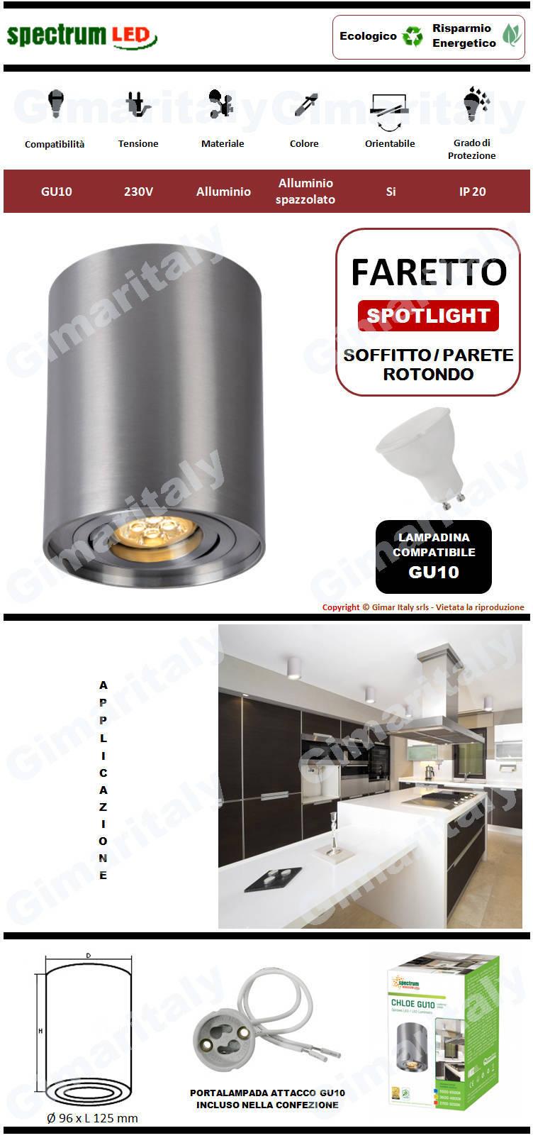 Portafaretto Orientabile Rotondo Grigio Satinato da soffitto per lampadina GU10 Spectrum