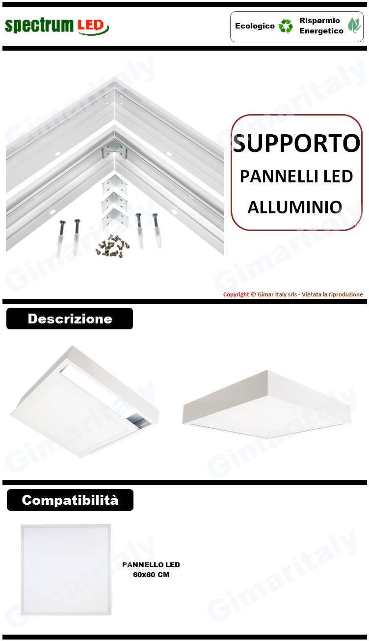 Supporto telaio per montaggio esterno pannelli Led 60x60 Spectrum