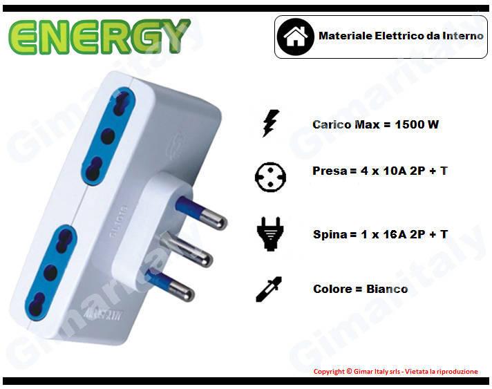 Adattatore Quadruplo 10A bianco Energy