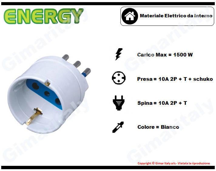 Adattatore Schuko 10A bianco Energy