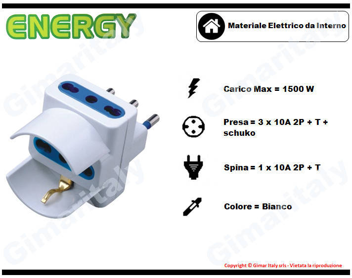 Adattatore Triplo Schuko 10A bianco Energy