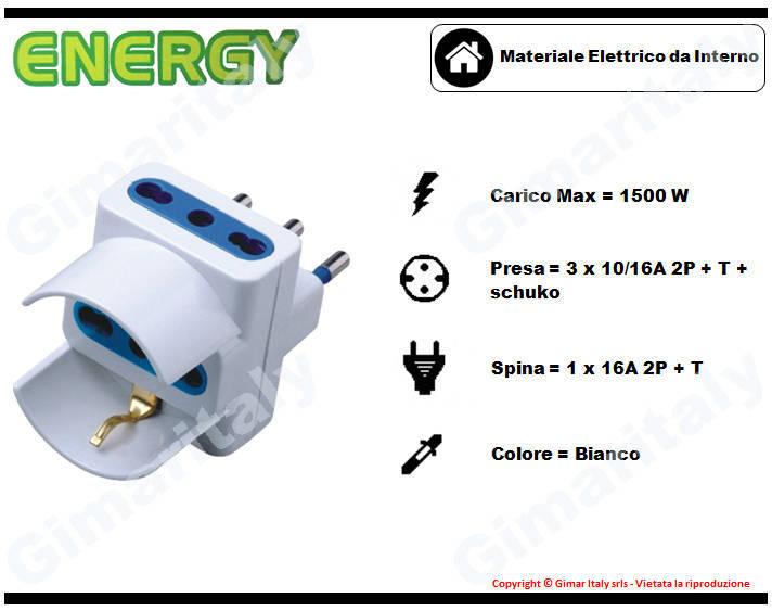 Adattatore Triplo Schuko 16A bianco Energy