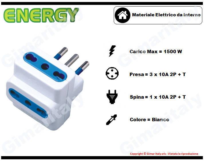 Adattatore Triplo 10A bianco Energy