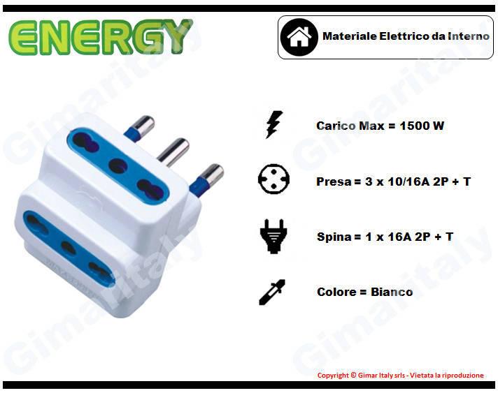 Adattatore Triplo 16A bianco Energy