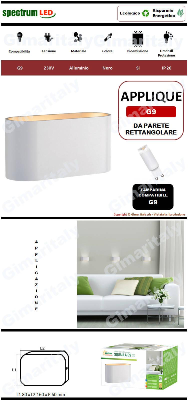 Applique Bianca da parete per lampadina G9 Spectrum
