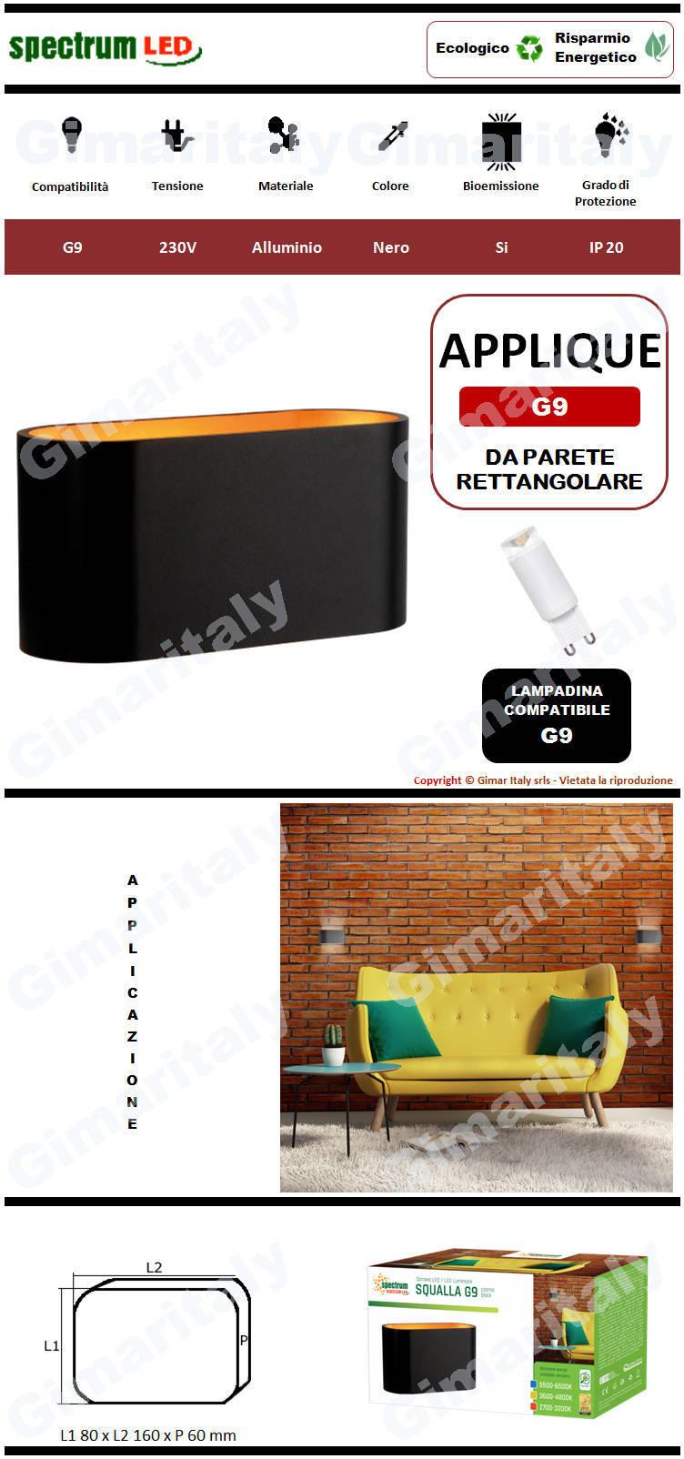 Applique Nera da parete per lampadina G9 Spectrum