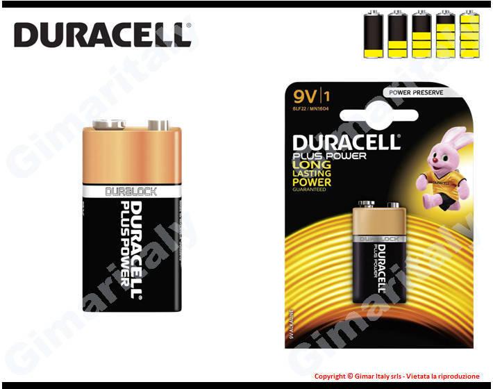 Batteria Pila 9V Transistor Alcalina Duracell Plus Power