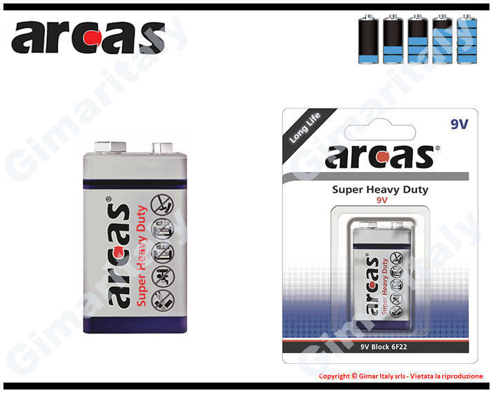 Batteria Pila 9V Transistor Super Heavy Duty Arcas