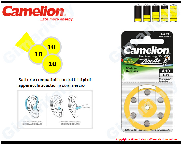 Batterie apparecchi acustici 10-PR70-A10 Zinco Aria Camelion
