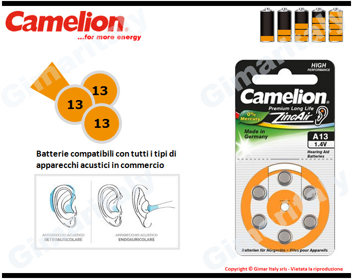 Batterie apparecchi acustici 13-PR48-P13 Zinco Aria Camelion