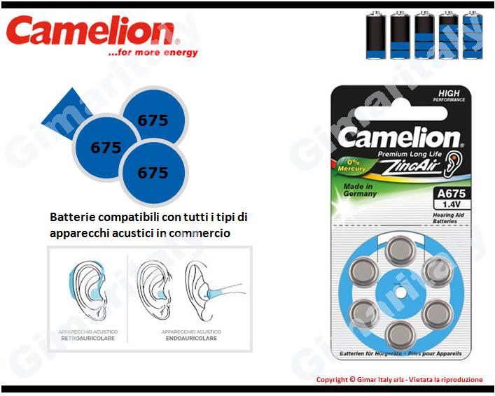 Batterie apparecchi acustici 675-PR44-P675 Zinco Aria Camelion
