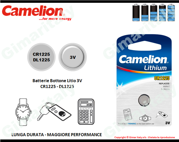 Batterie bottone CR1225-DL1225 Litio 3V Camelion