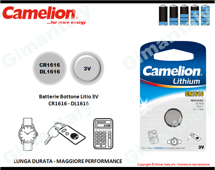 Batterie bottone CR1616-DL1616 Litio 3V Camelion