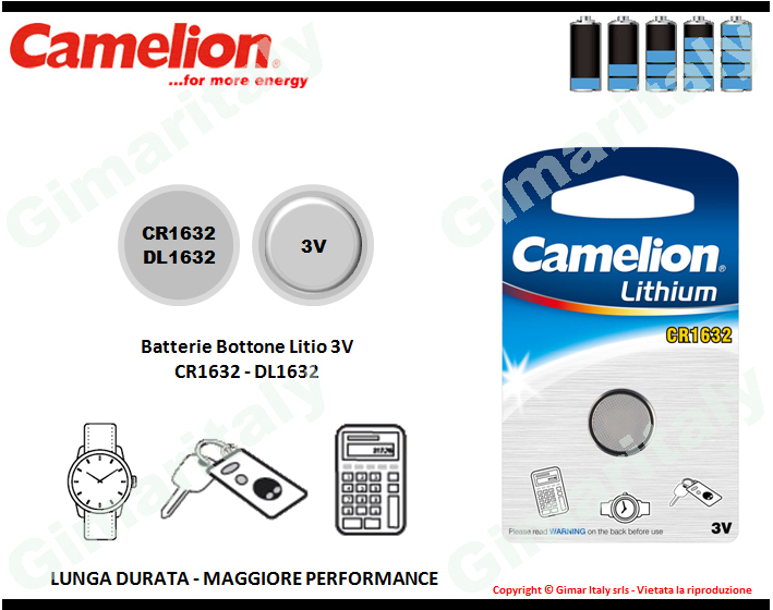 Batterie bottone CR1632-DL1632 Litio 3V Camelion