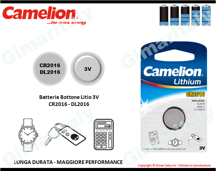 Batterie bottone CR2016-DR2016 Litio 3V Camelion