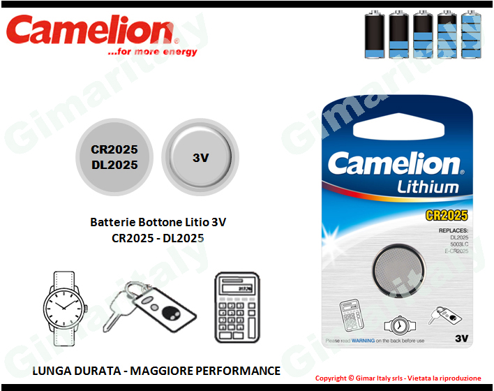 Batterie bottone CR2025-DR2025 Litio 3V Camelion