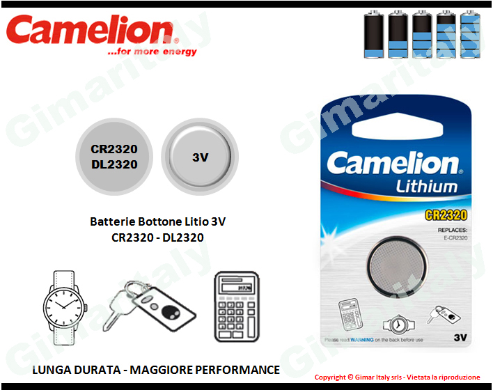 Batterie bottone CR2320-DL2320 Litio 3V Camelion