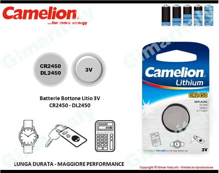 Batterie bottone CR2450-DL2450 Litio 3V Camelion
