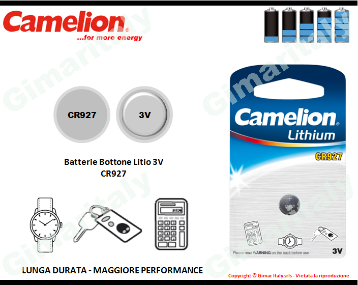 Batterie bottone CR927 Litio 3V Camelion