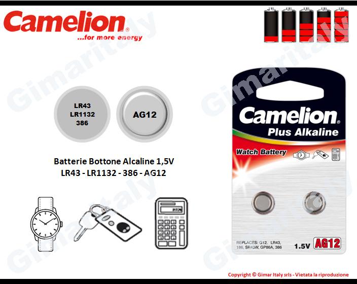 Batterie bottone LR43-LR1132-386-AG12 Alcaline Camelion