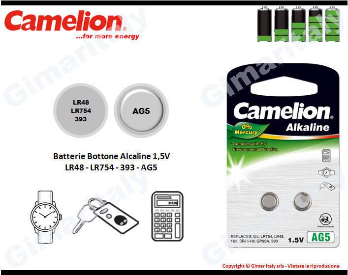 Batterie bottone LR48-LR754-393-AG5 Alcaline Camelion