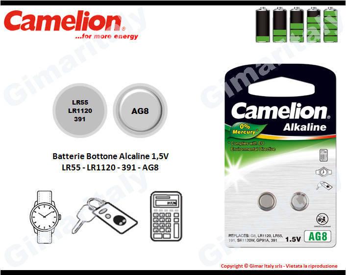 Batterie bottone LR55-LR1120-391-AG8 Alcaline Camelion