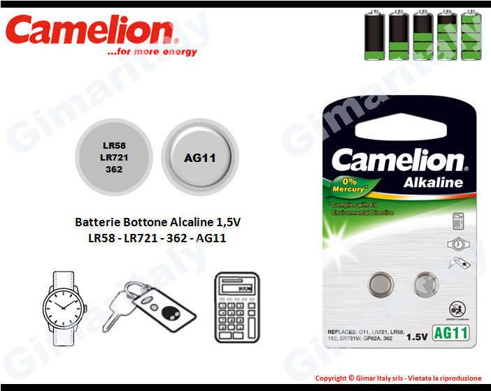 Batterie bottone LR58-LR721-362-AG11 Alcaline Camelion