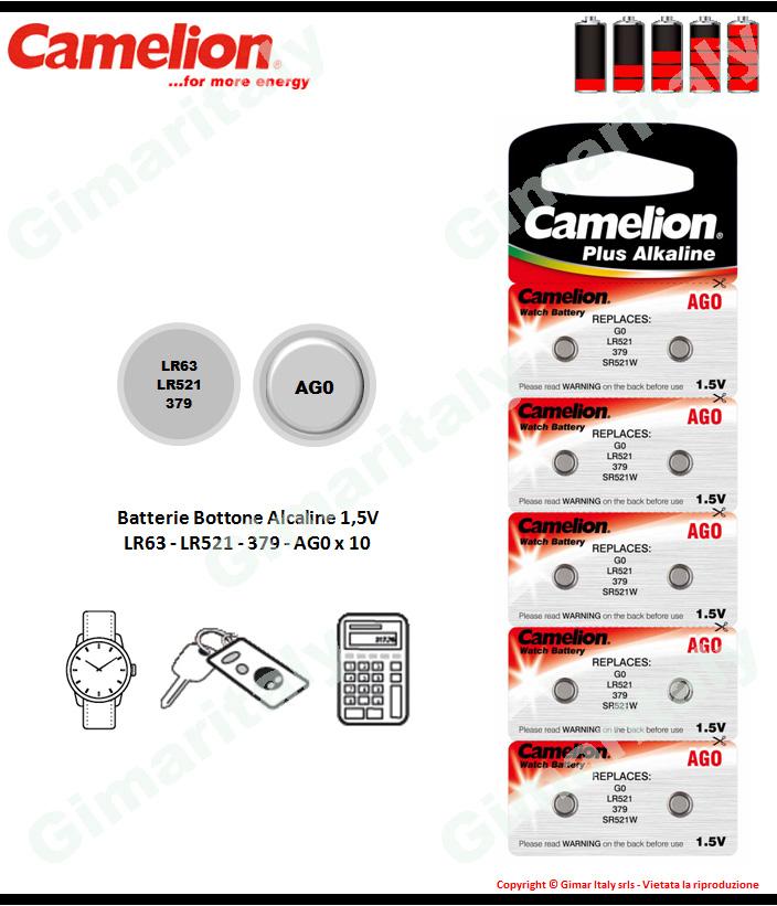 Batterie bottone LR63-LR521-379-AG0 Alcaline x 10 Camelion