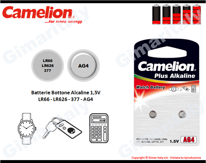 Batterie bottone LR66-LR626-377-AG4 Alcaline Camelion
