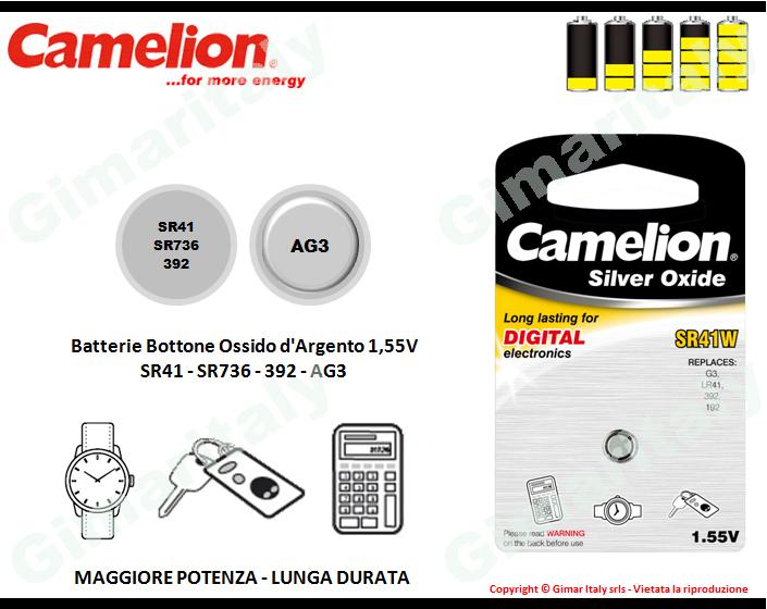 Batterie bottone SR41-SR736-392-AG3 Ossido d'Argento Camelion