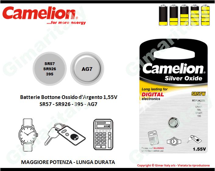 Batterie bottone SR57-SR926-395-AG7 Ossido d'Argento Camelion
