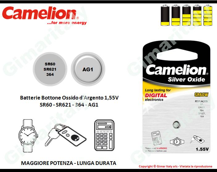 Batterie bottone SR60-SR621-364-AG1 Ossido d'Argento Camelion