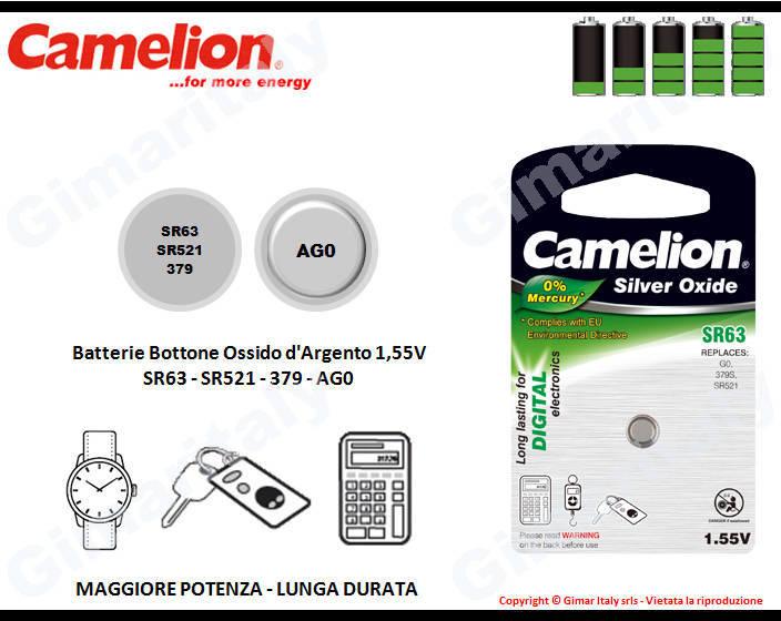 Batterie bottone SR63-SR521-395-AG0 Ossido d'Argento Camelion