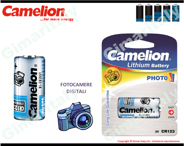 Batterie CR123-DL123A Litio 3V Camelion