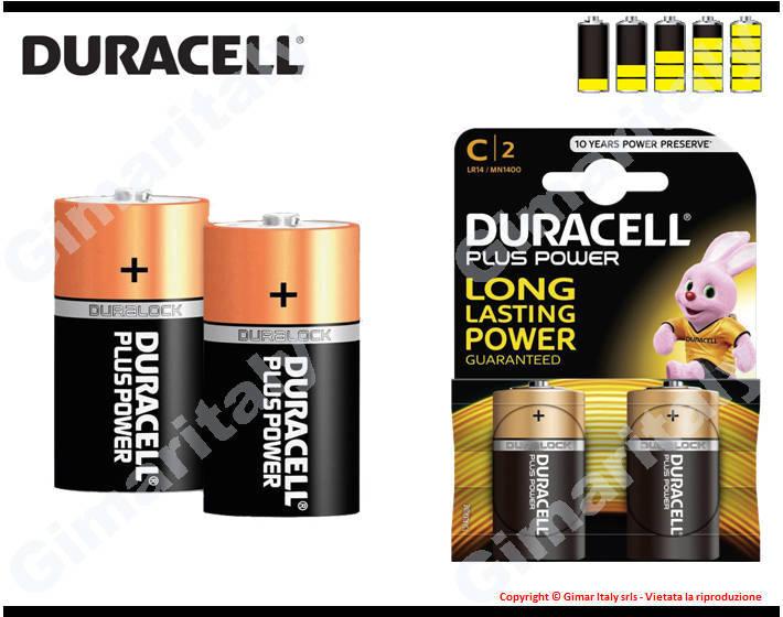Batterie Pile R14 C Mezzatorcia Alcaline 1,5V Duracell Plus Power