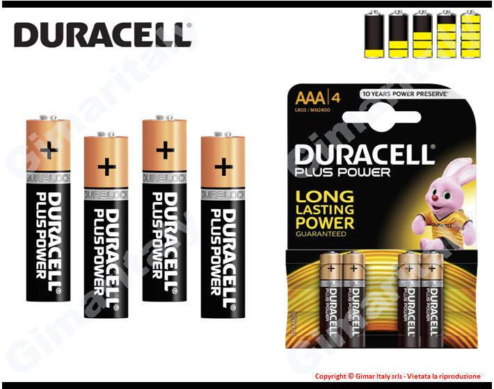 Batterie Pile Ministilo AAA LR03 Alcaline Duracell Plus Power